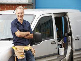 painter in a van