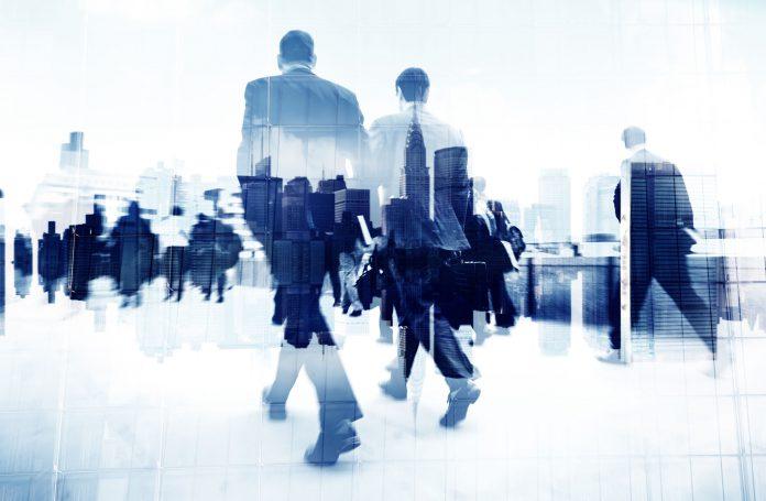 office workerws walking