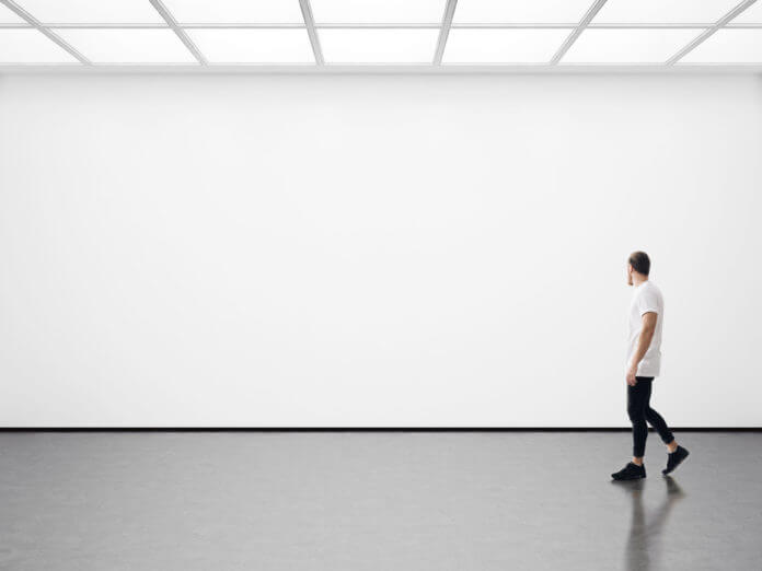 a man walks on the exhibition hall