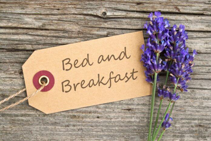 lavender and label with lettering bed and breakfast