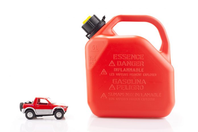 Toy car and essence container isolated