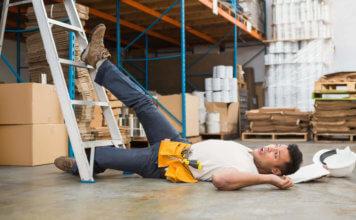 Worker falls off a ladder