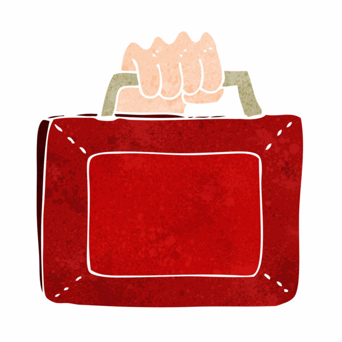 Red budget briefcase for the autumn statement