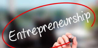 The word Entrepreneurship is circled in red pen