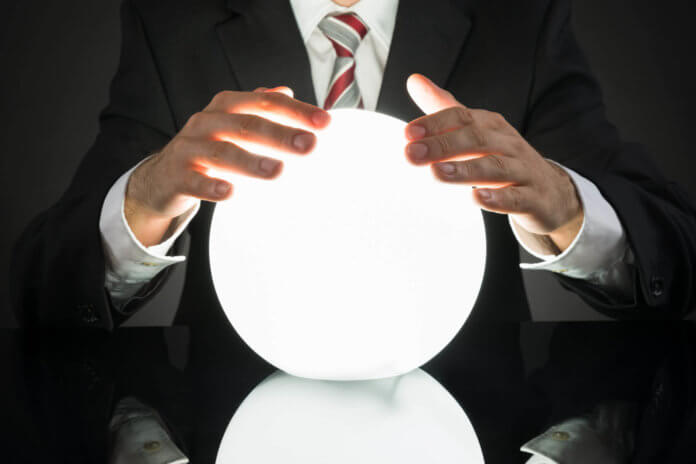 business man uses orb to predict the future this 2017
