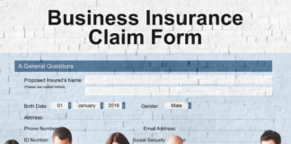 Pre-occupied multiple business owners line up in front of a Business Insurance claim form